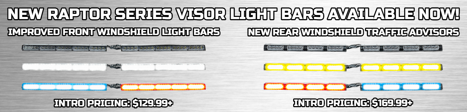 LED split visor light bars warning lights Sale LED rear windshield traffic advisors sale