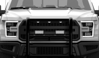 Dual Carbine 8 Inch LED Light Bar Off Road Floodlight grille