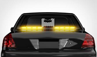 MC Rear Raptor Linear Interior Split LED Traffic Advisor Light Bar On