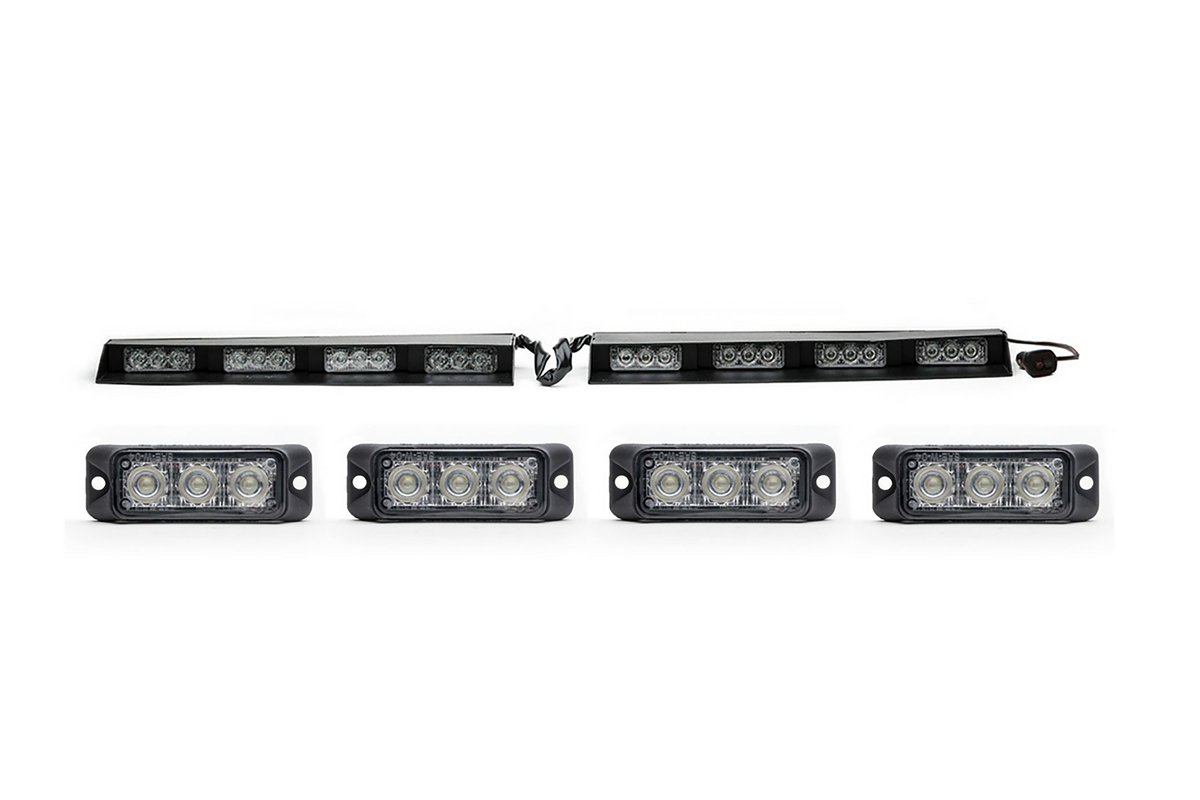 Split Raptor-X TIR Interior LED Visor Light Bar + Z-3 TIR LED Surface Mount