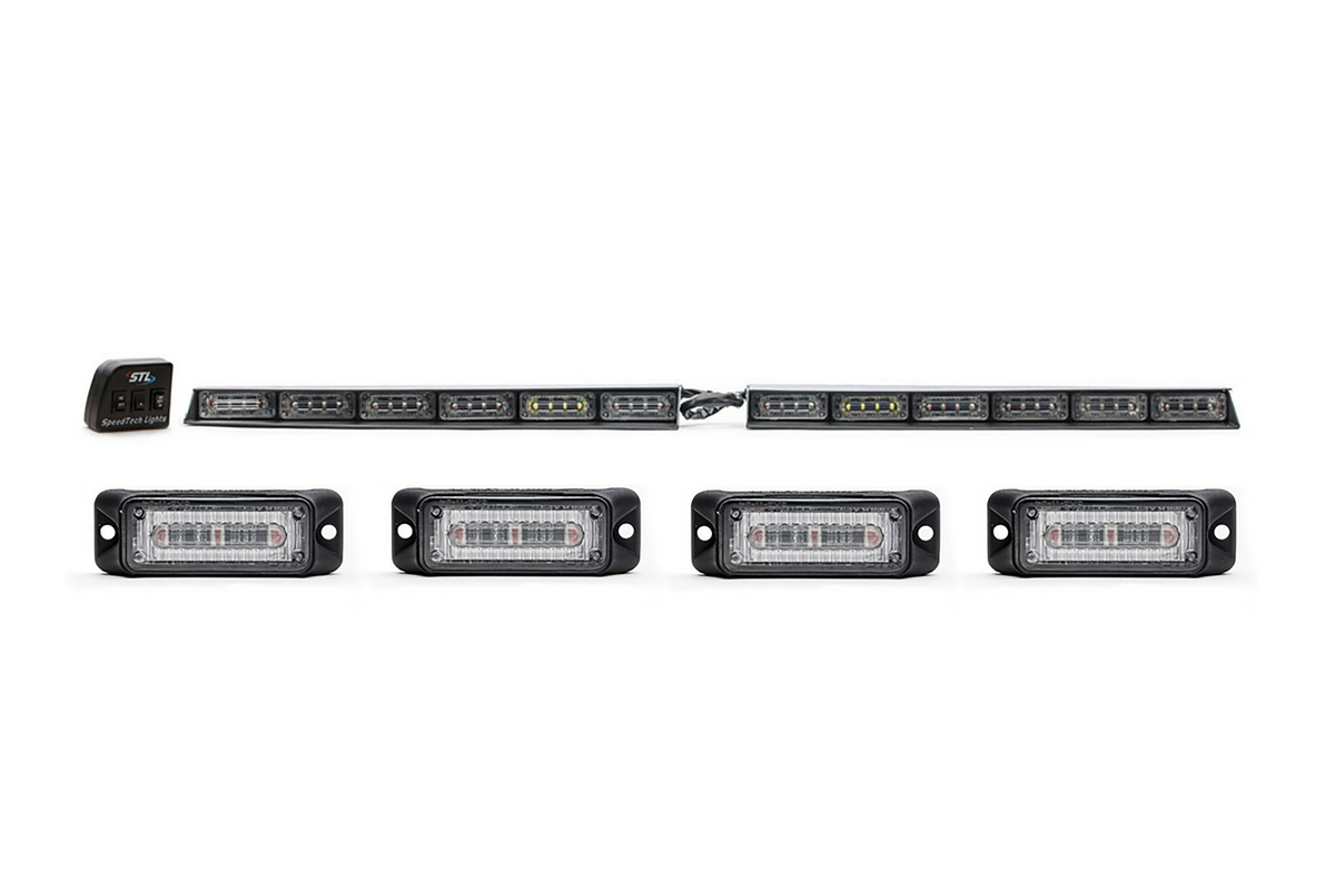 Split Raptor Linear LED Lightbar Windshield + Z-3 Linear LED Surface Mounts