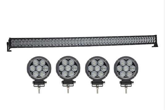 Dual Carbine 50 Inch Curved LED Light Bar + 4 Inch Circle LED Work Lights