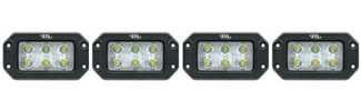 4 Pack Hex Carbine Flush Mount Rectangular 6 Inch LED Floodlight