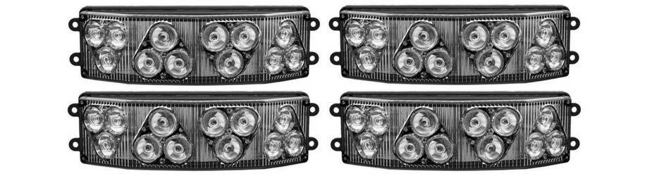 Half Octo LED Surface Mount Grille Lights 4 Pack