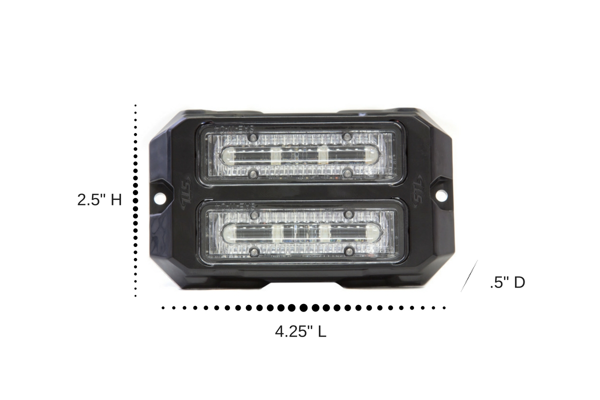 Dual Z-4X Linear LED Surface Mount Grille Lights Dimensions