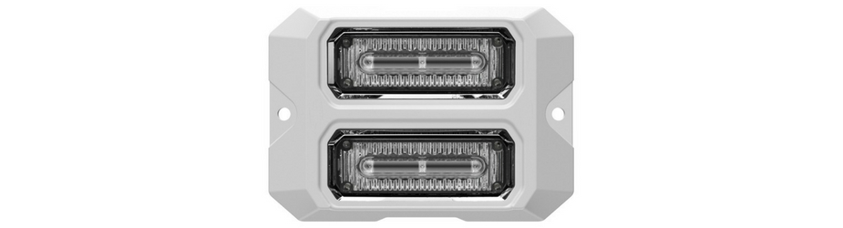 Dual Z-3X Linear LED Surface Mount Grille Lights White Flange