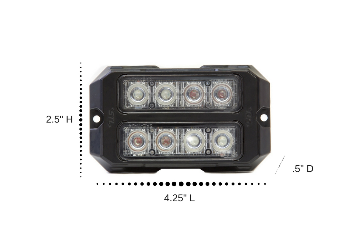 Dual Z-4X TIR LED Surface Mount Grille Lights Dimensions