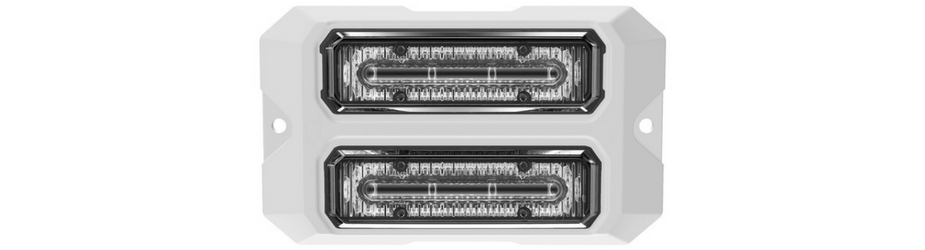 Dual Z-4X Linear LED Surface Mount Grille Lights White Flange