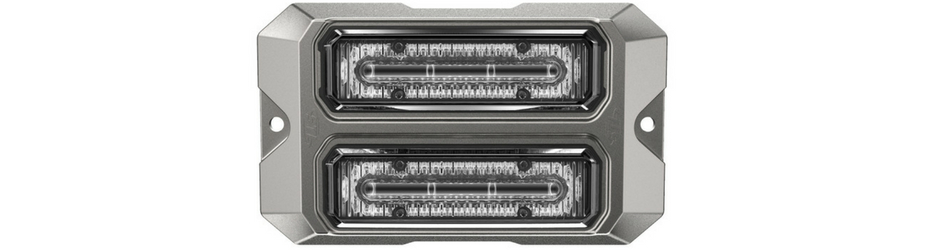 Dual Z-4X Linear LED Surface Mount Grille Lights Silver flage
