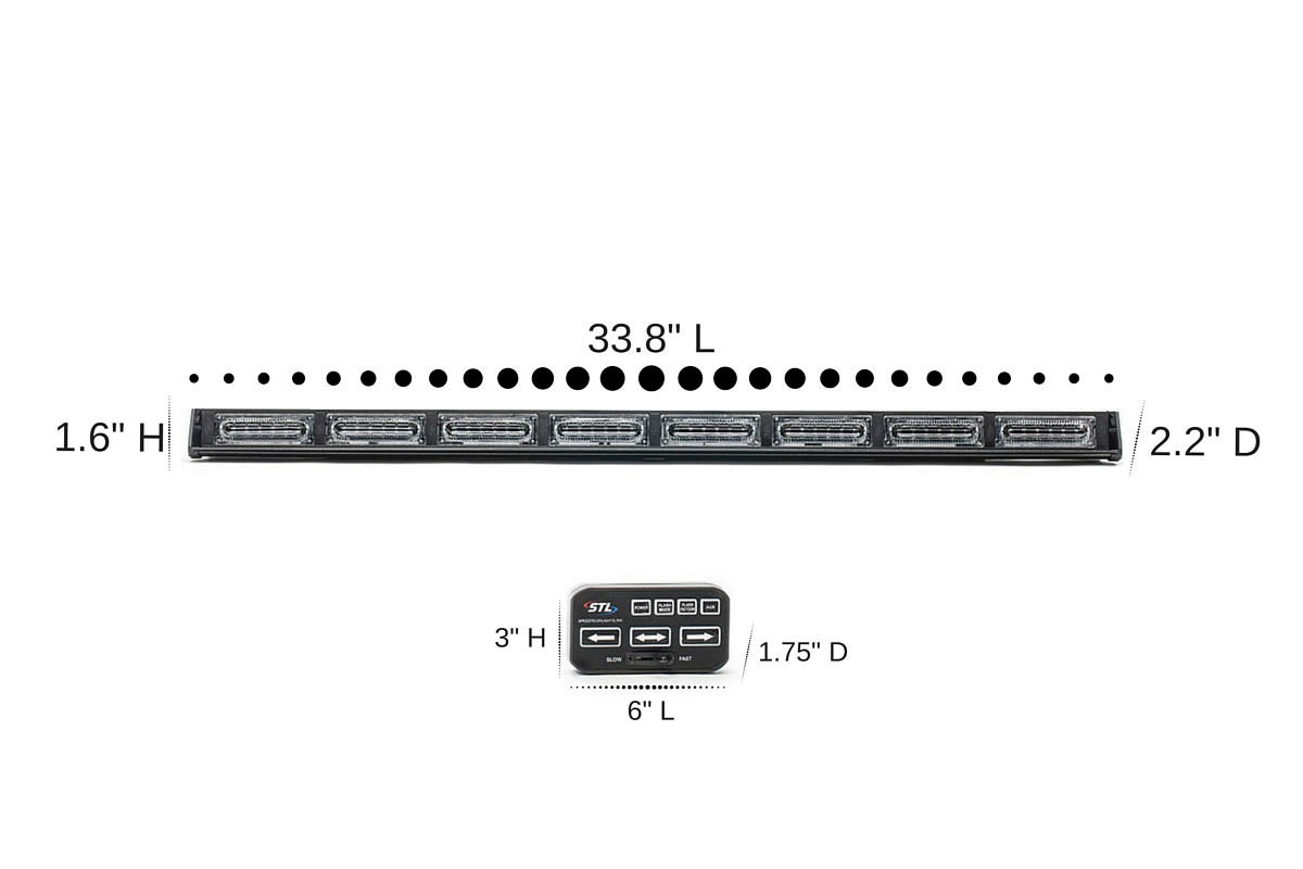 Virtue-8 Linear 8 Head LED Traffic Advisor Light Bar Dimensions