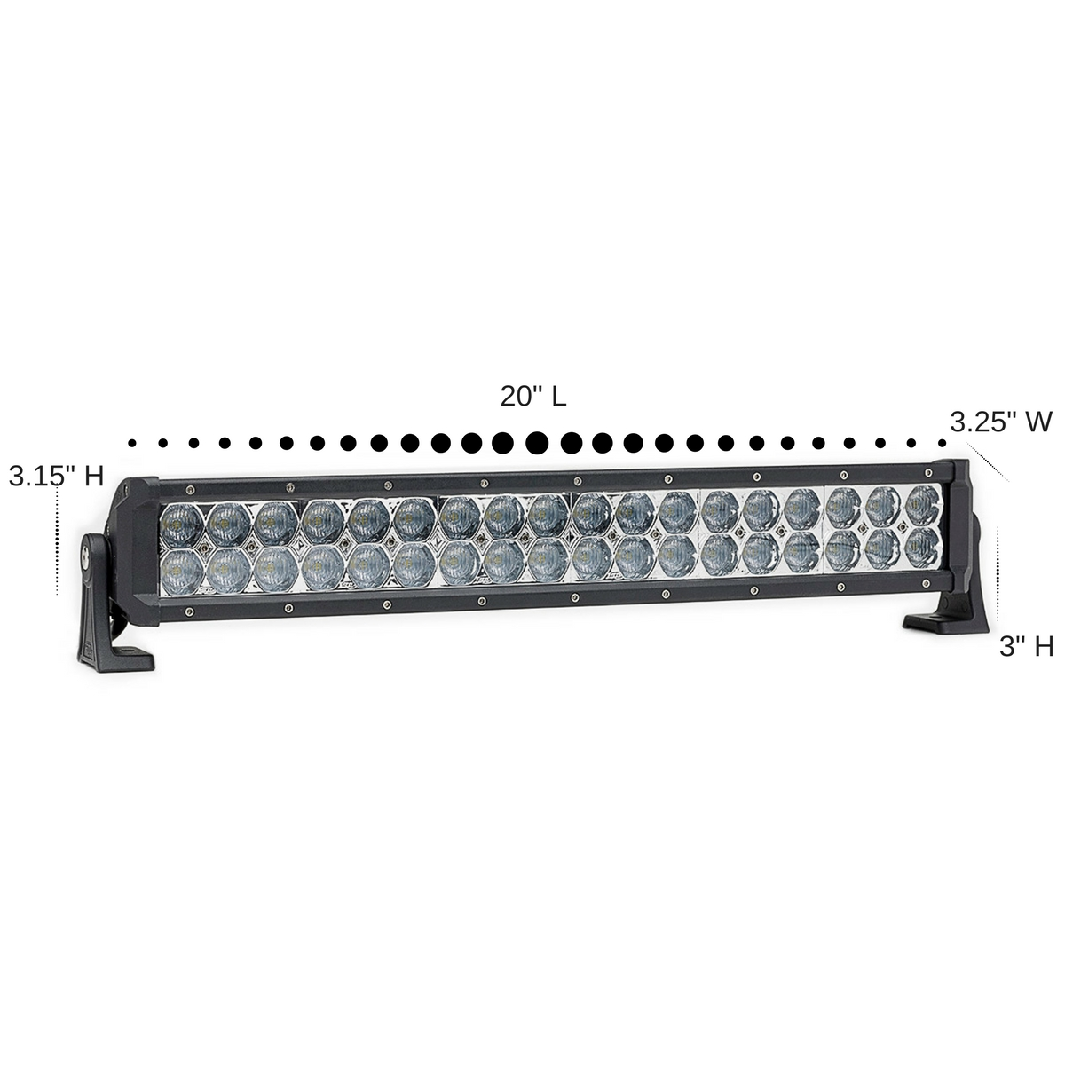2 Pack Dual Carbine Floodlight Off Road 20 Inch LED Light Bar Dimensions