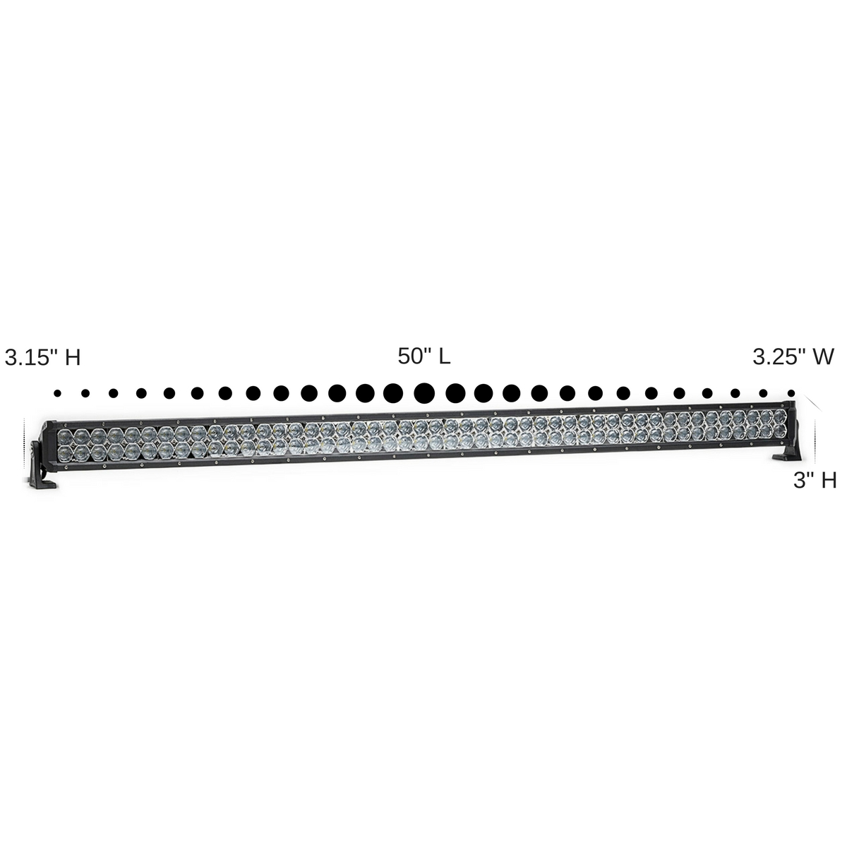 60294dual carbine hybrid off road 50 inch led light bar angle view brackets dimensions 88949