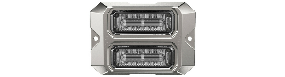 Dual Z-3X Linear LED Surface Mount Grille Lights Silver Flange