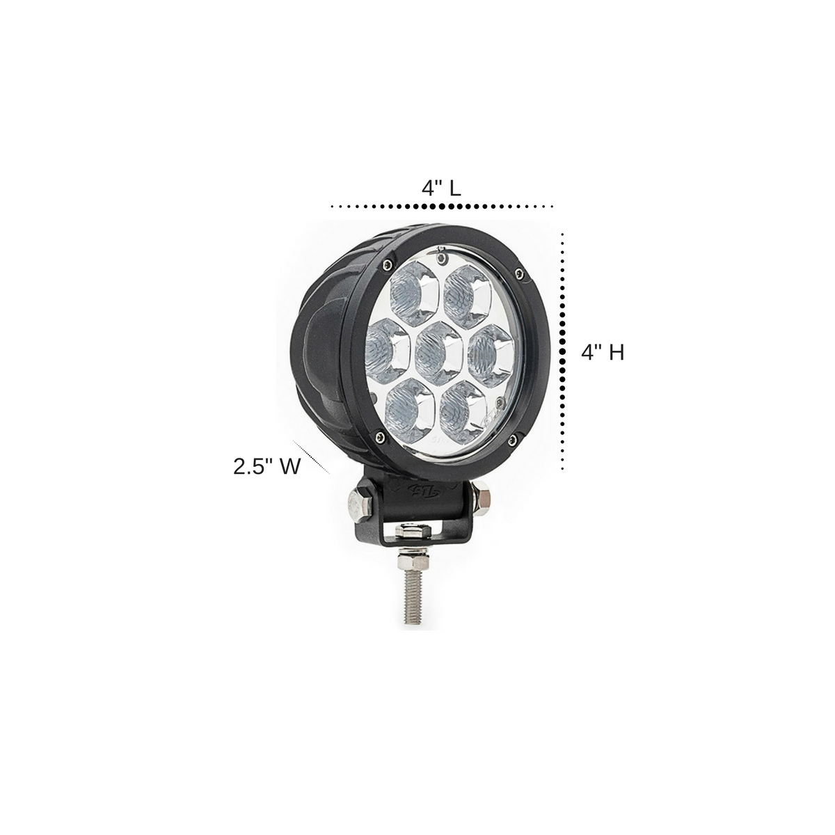 Circle Carbine Floodlight Round 4 Inch Off Road LED Light Dimensions