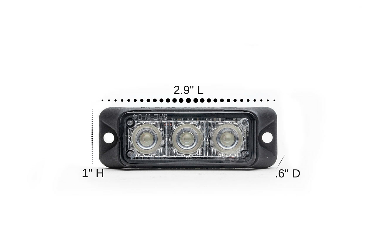 Dual Z-3X TIR LED Surface Mount Grille Lights Dimensions
