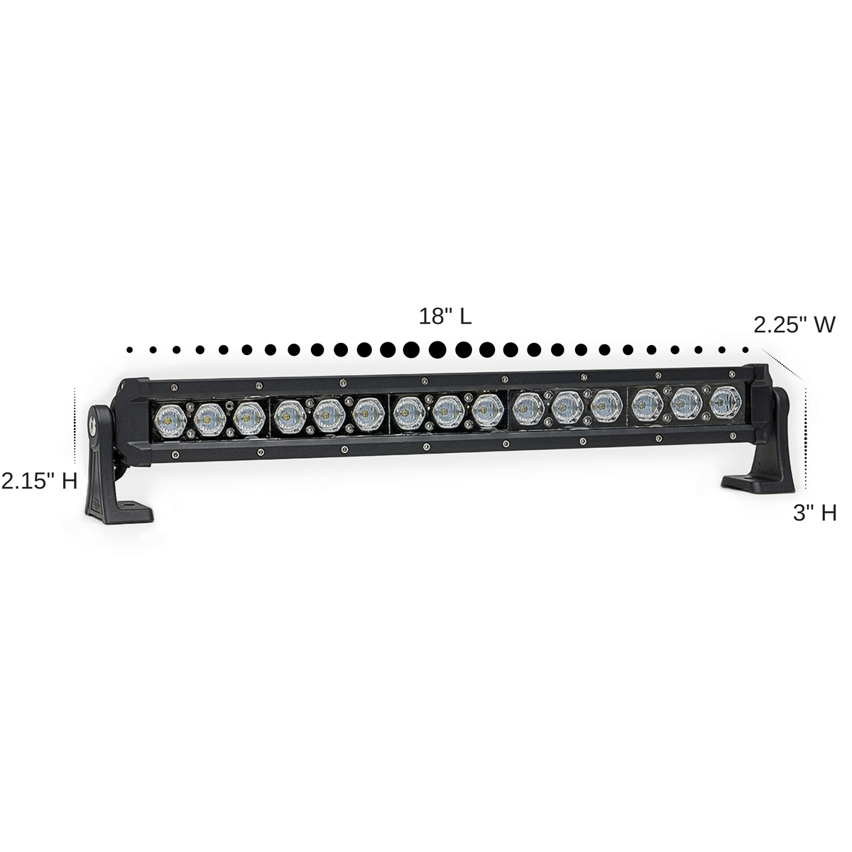 Carbine 18 Inch Floodlight Off Road LED Light Bar Dimensions
