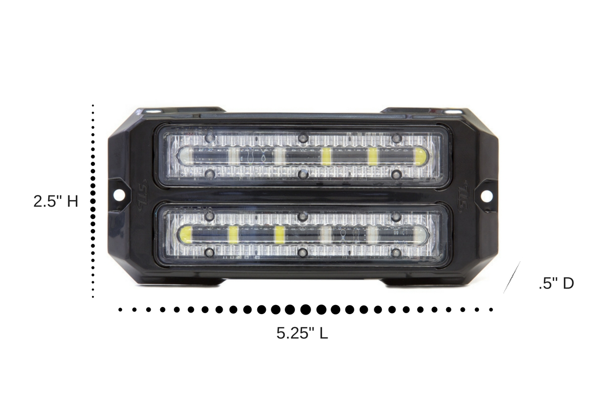 Dual Z-6X Linear LED Surface Mount Grille Lights Dimensions