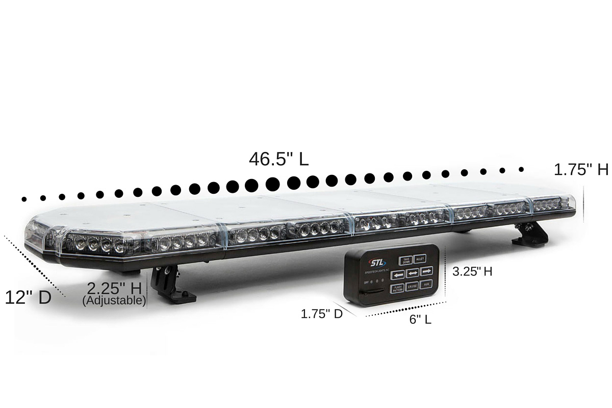 Prime 47 TIR Full Size LED Light Bar Dimensions
