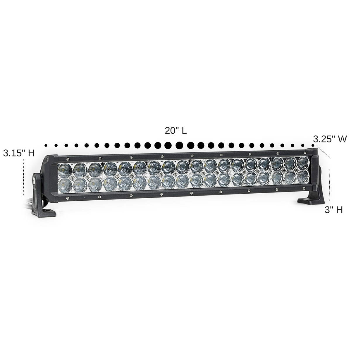 Dual Carbine Hybrid Off Road 20 Inch LED Light Bar Dimensions