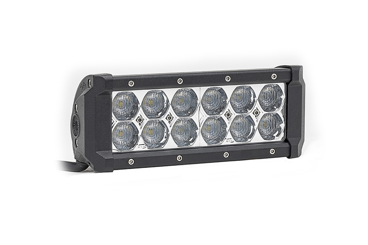 Dual Carbine Floodlight 8 Inch Off Road LED Light Bar Angle View