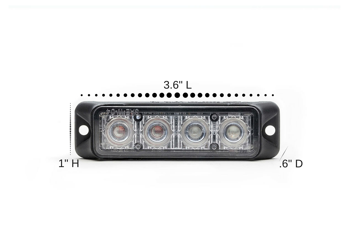 Z-4 TIR LED Surface Mount Grille Light Dimensions
